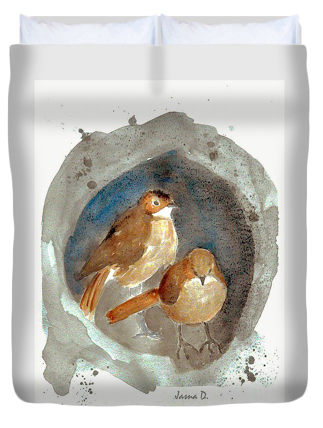 Sparrow Duvet Cover featuring the painting Home by Jasna Dragun