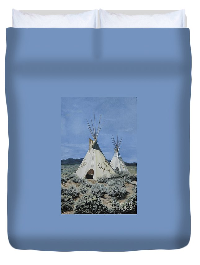 Art Duvet Cover featuring the painting Home On The Range by Mary Rogers