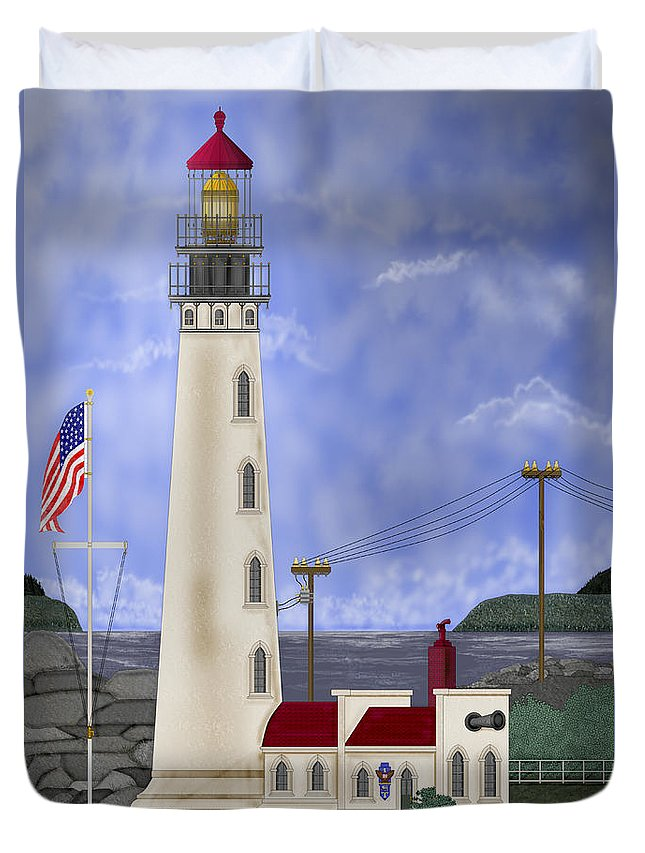Lighthouse Duvet Cover featuring the painting Home Port by Anne Norskog