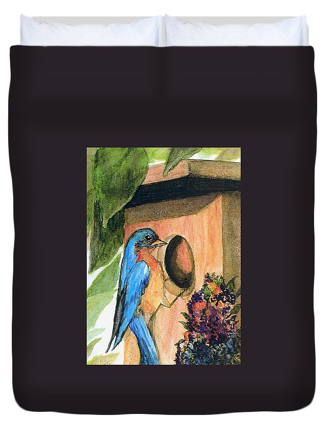 Bluebirds Duvet Cover featuring the painting Home Sweet Home by Gail Kirtz