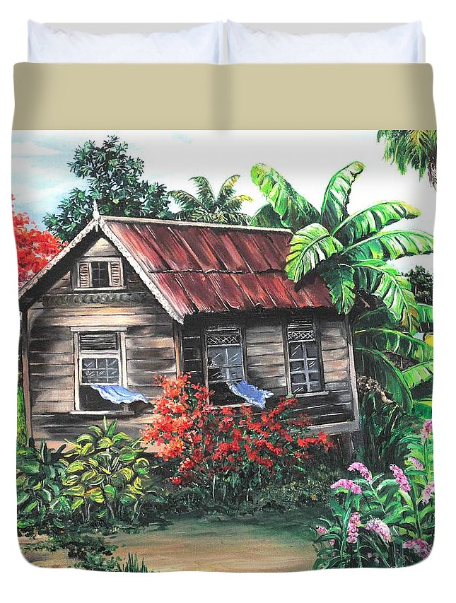 Caribbean House Duvet Cover featuring the painting Home Sweet Home by Karin Dawn Kelshall- Best