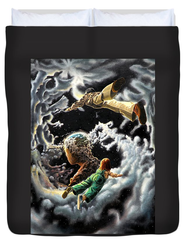 Fantasy Duvet Cover featuring the painting Homecoming by Dave Martsolf
