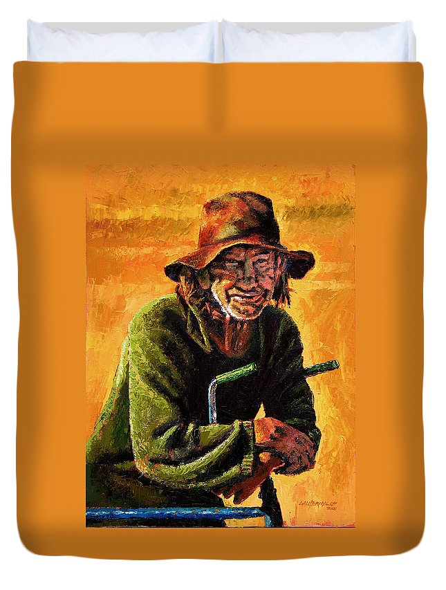 Homeless Man With Bike Duvet Cover featuring the painting Homeless by John Lautermilch