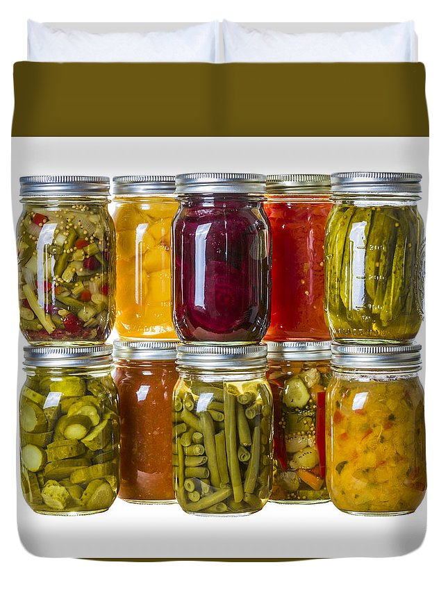 Food Duvet Cover featuring the photograph Homemade Preserves And Pickles by John Trax