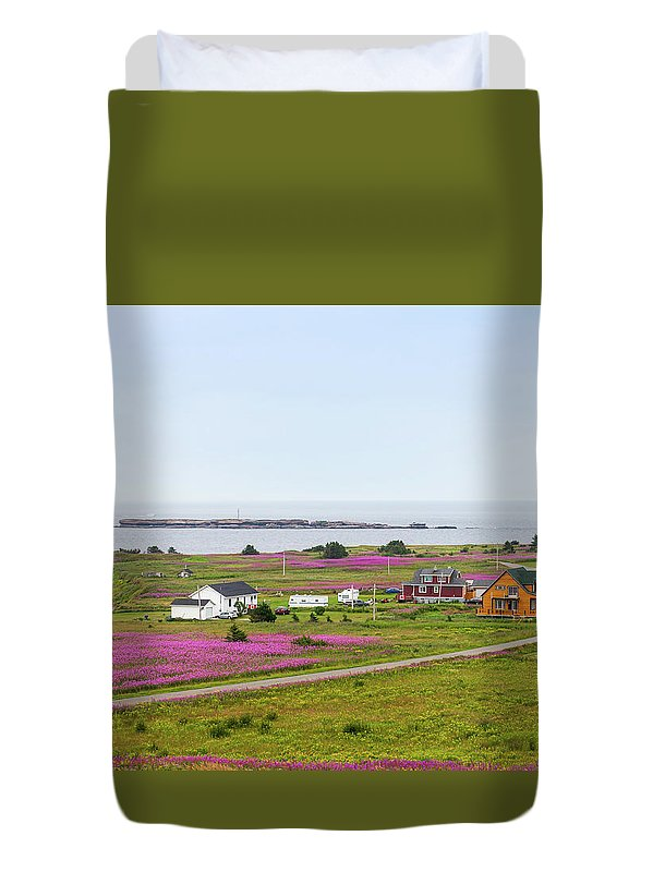 Sea Duvet Cover featuring the photograph Homes And Flowers On The Atlantic Coast In Gaspe by Les Palenik