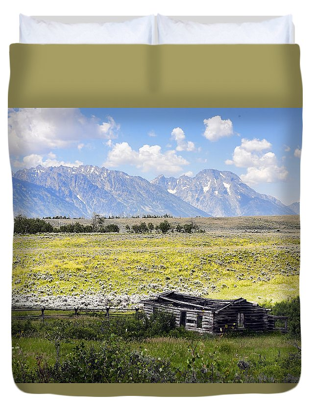 Signal Duvet Cover featuring the photograph Homestead In The Grand Tetons by Hugh Smith