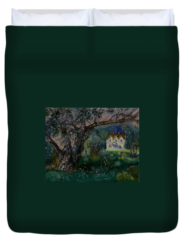 Landscape Duvet Cover featuring the painting Homestead by Stephen King