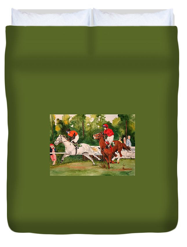 Racing Duvet Cover featuring the painting Homestretch by Jean Blackmer