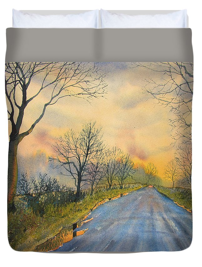 Glenn Marshall Yorkshire Artist Duvet Cover featuring the painting Homeward Bound For Kilham by Glenn Marshall