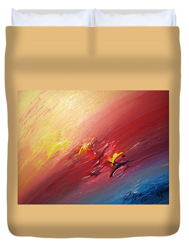 Abstract Duvet Cover featuring the painting Honeymoon Bliss - A by Brenda Basham Dothage