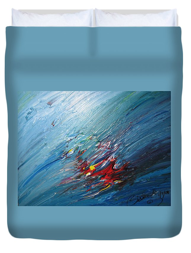 Abstract Duvet Cover featuring the painting Honeymoon Bliss - B by Brenda Basham Dothage