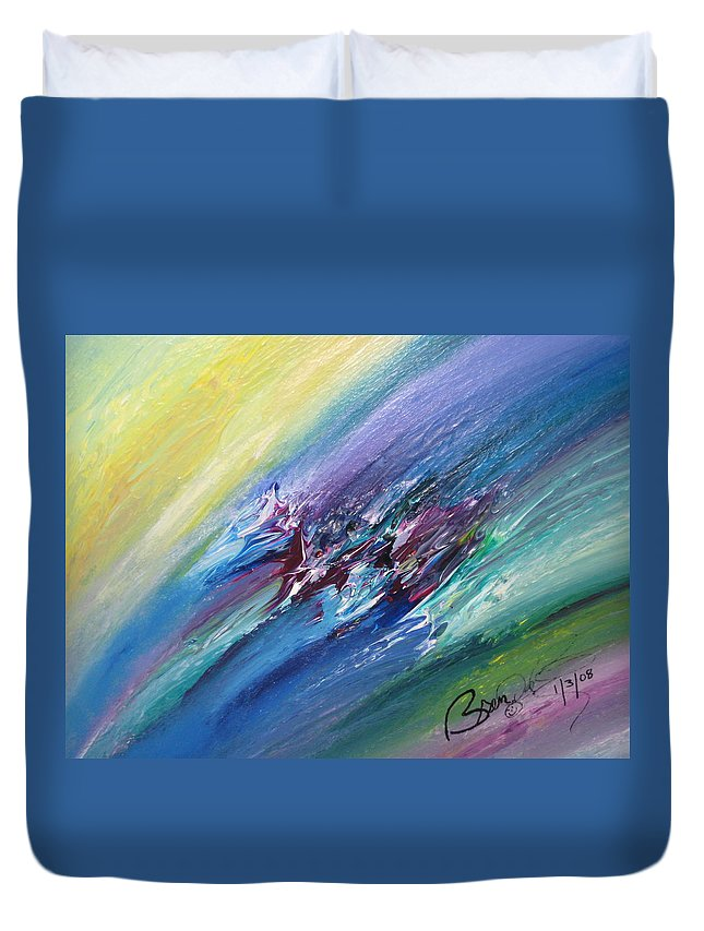 Abstract Duvet Cover featuring the painting Honeymoon Bliss - C by Brenda Basham Dothage