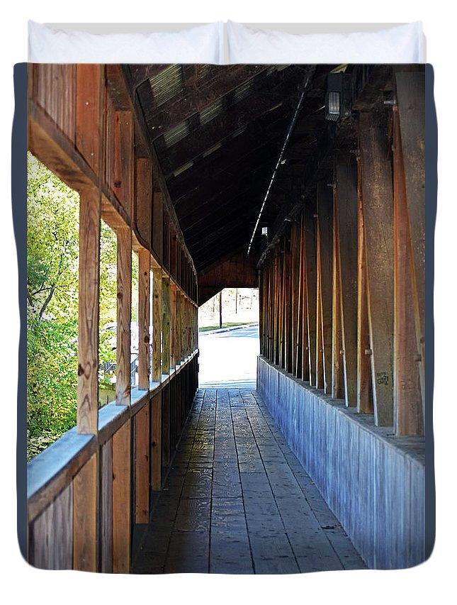 Honeymoon Bridge Sidewalk Duvet Cover featuring the photograph Honeymoon Bridge Sidewalk by Patti Whitten