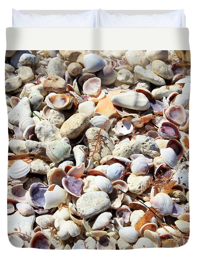 Shells Duvet Cover featuring the photograph Honeymoon Island Shells by Carol Groenen