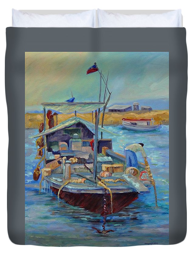 Hong Kong Harbor Duvet Cover featuring the painting Hong Kong Junque by Ginger Concepcion