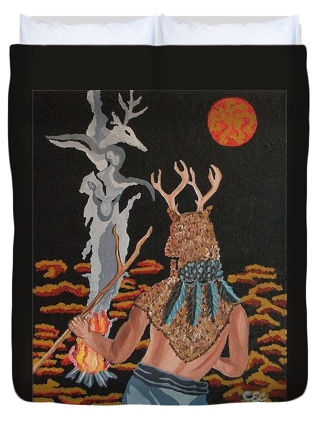 Native American Duvet Cover featuring the painting Honoring by Carolyn Cable