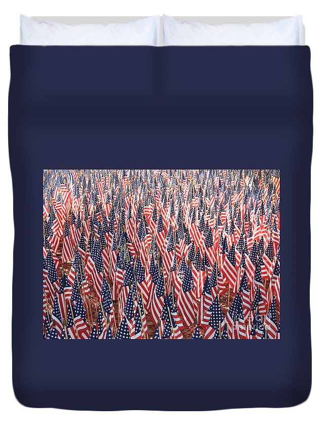 Veterans Memorial Duvet Cover featuring the photograph Honoring Those Who Have Sacrificied All by Carol Groenen