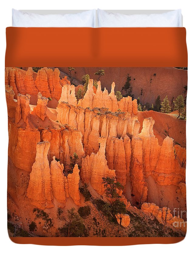Hoodoos Duvet Cover featuring the photograph Hoodoos At Sunrise Bryce Canyon National Park Utah by Dave Welling