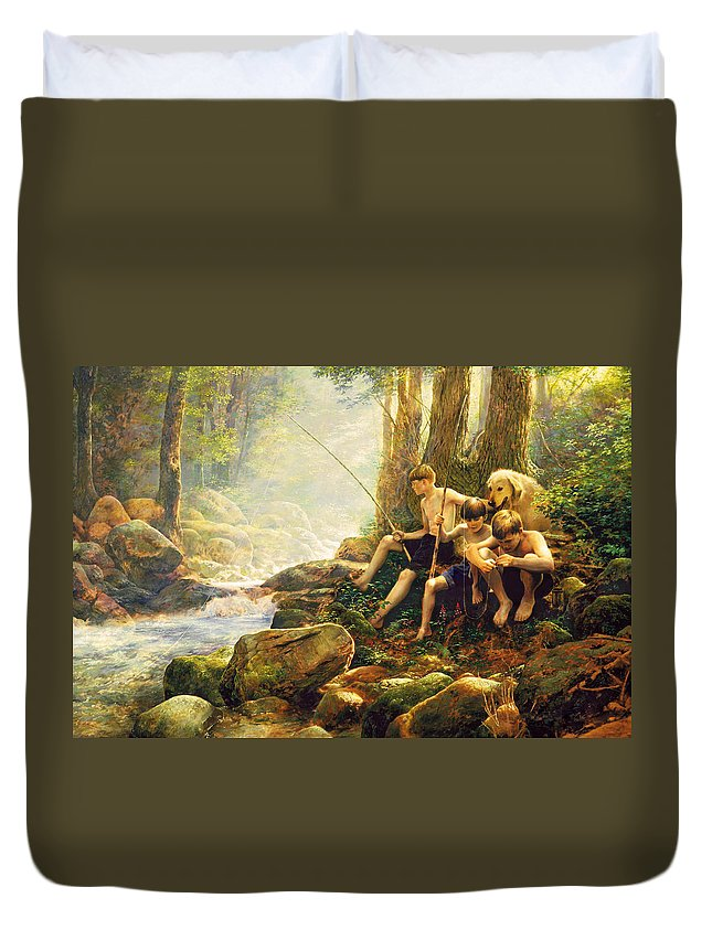 Fishing Duvet Cover featuring the painting Hook Line and Summer by Greg Olsen