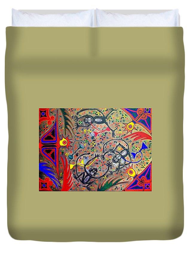 Contemporary Folk Art Duvet Cover featuring the painting Hookah Monkeys - Jinga Monkeys Series by Fareeha Khawaja