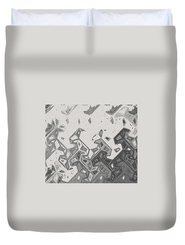 Abstract Duvet Cover featuring the digital art Hoop Dancers by Lenore Senior