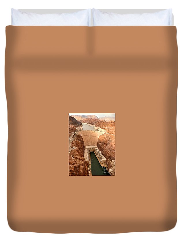 Hoover Dam Duvet Cover featuring the photograph Hoover Dam Scenic View by Angela L Walker
