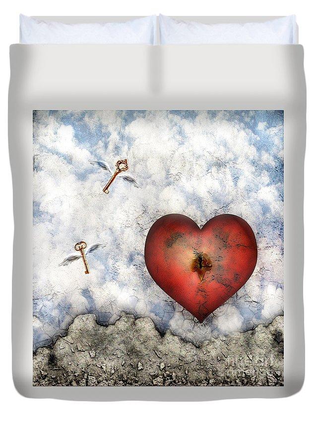 Heart Duvet Cover featuring the digital art Hope Floats by Jacky Gerritsen