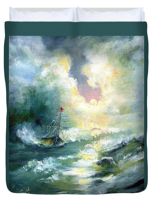 Ship Duvet Cover featuring the painting Hope In The Storm I by Joe Byrd