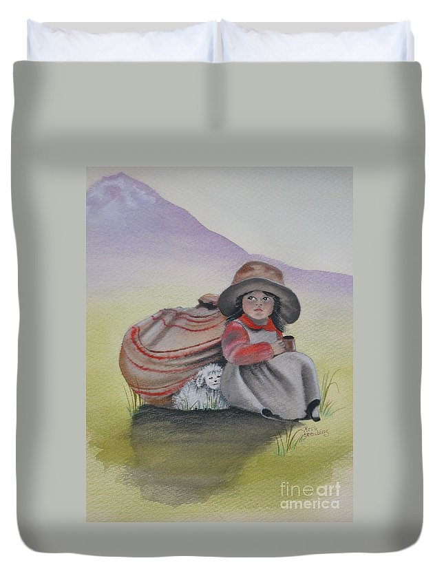Children Duvet Cover featuring the painting Hope by Kris Crollard