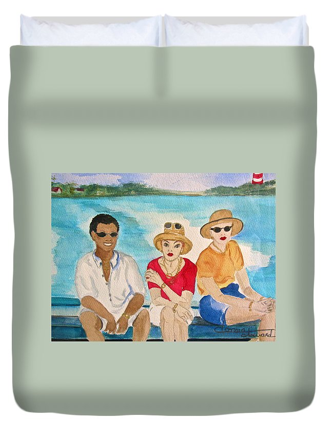 People Duvet Cover featuring the painting Hope Town Ferry by Donna Steward