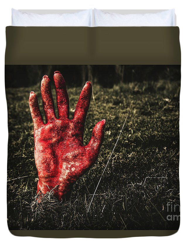 Hand Duvet Cover featuring the photograph Horror Resurrection by Jorgo Photography - Wall Art Gallery