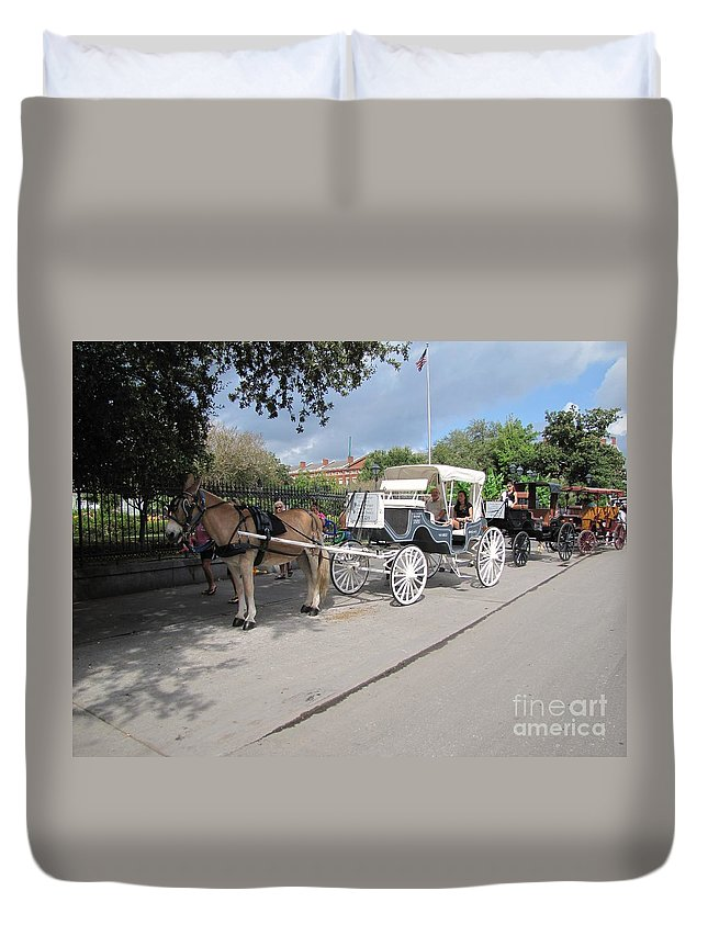 Buggy Rides Duvet Cover featuring the photograph Horse And Buggy by Michelle Powell