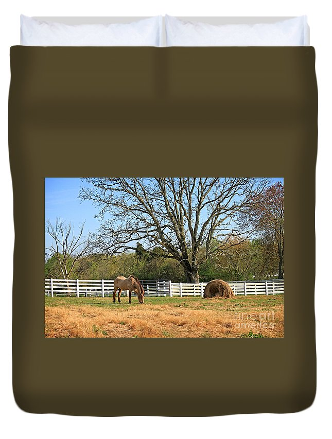 Landscape Duvet Cover featuring the photograph Horse And Hay by Todd Blanchard