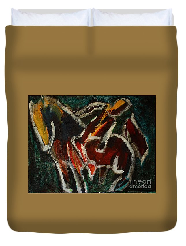 Intuitive Painting Duvet Cover featuring the painting Horse And Man by Uwe Hoche