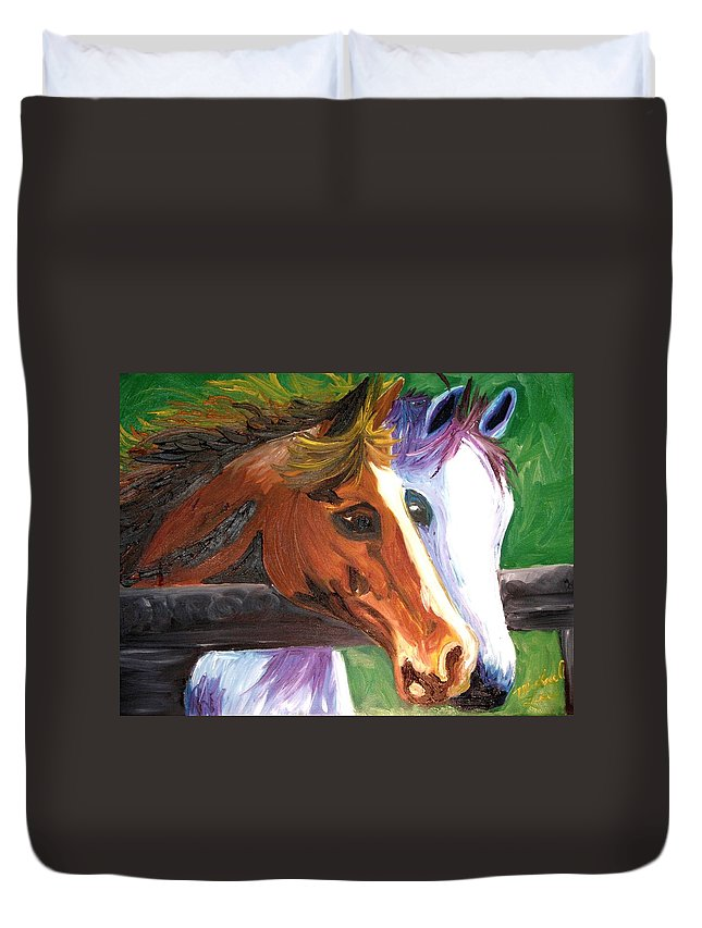 Horses Duvet Cover featuring the painting Horse Bff by Michael Lee