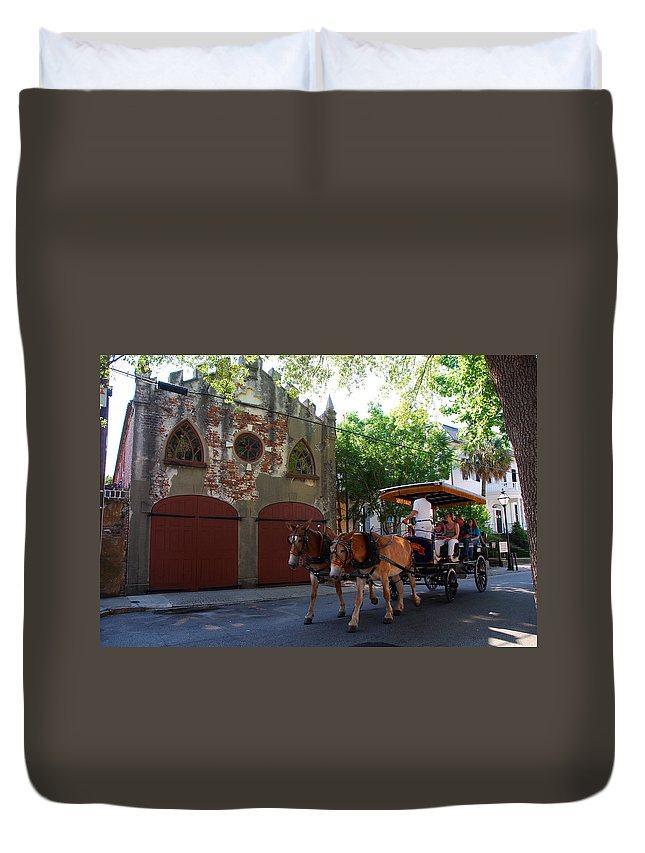 Photography Duvet Cover featuring the photograph Horse Carriage At Kings Street by Susanne Van Hulst