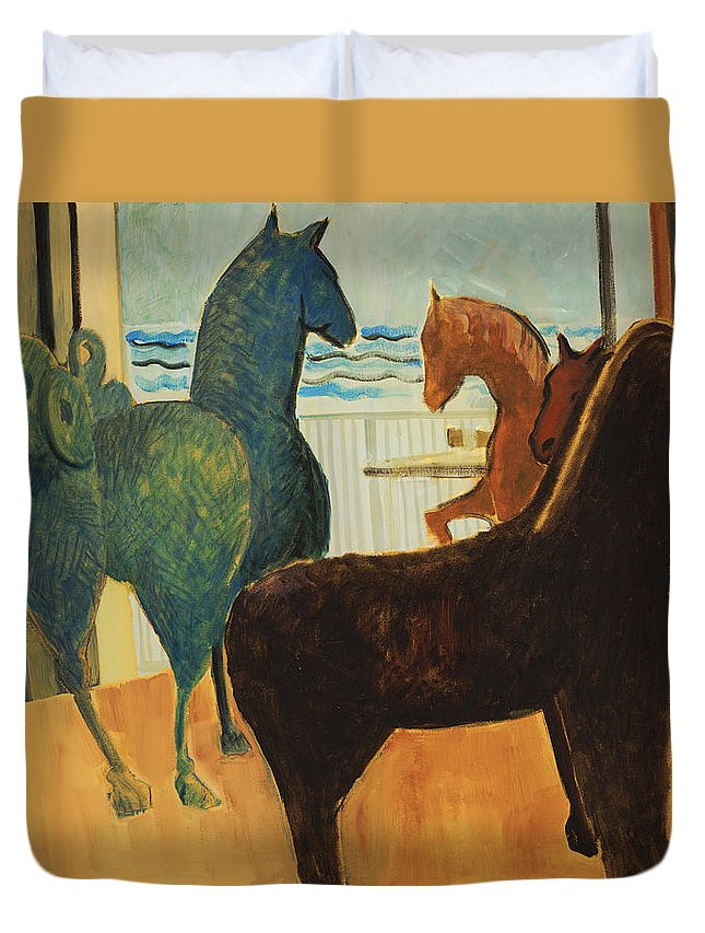 Still Life Duvet Cover featuring the painting Horse Collection by Thomas Tribby