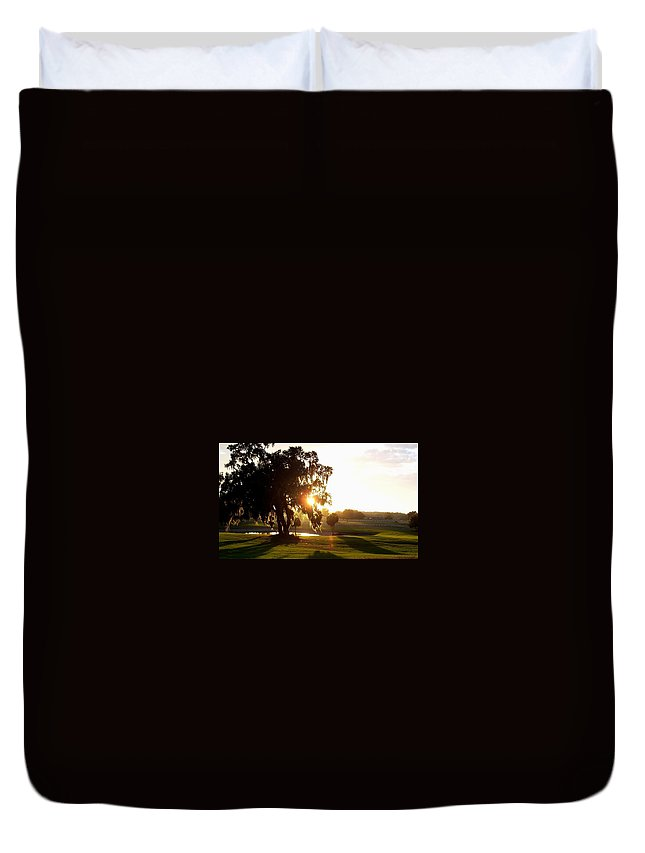 Sunset Duvet Cover featuring the photograph Horse Country Sunset by Kristen Wesch