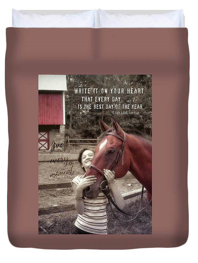 Horse Duvet Cover featuring the photograph Horse Crazy Quote by JAMART Photography