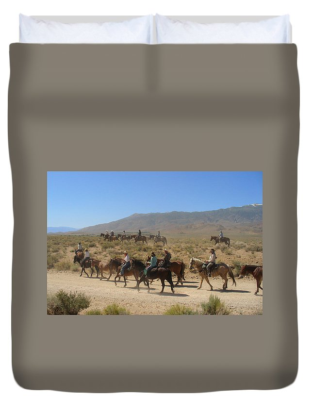 Horses Duvet Cover featuring the photograph Horse Drive from June Lake to Bishop California by Christine Till