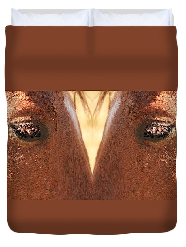 Close-ups-horse-horses Duvet Cover featuring the photograph Horse Eyes Love by James BO Insogna