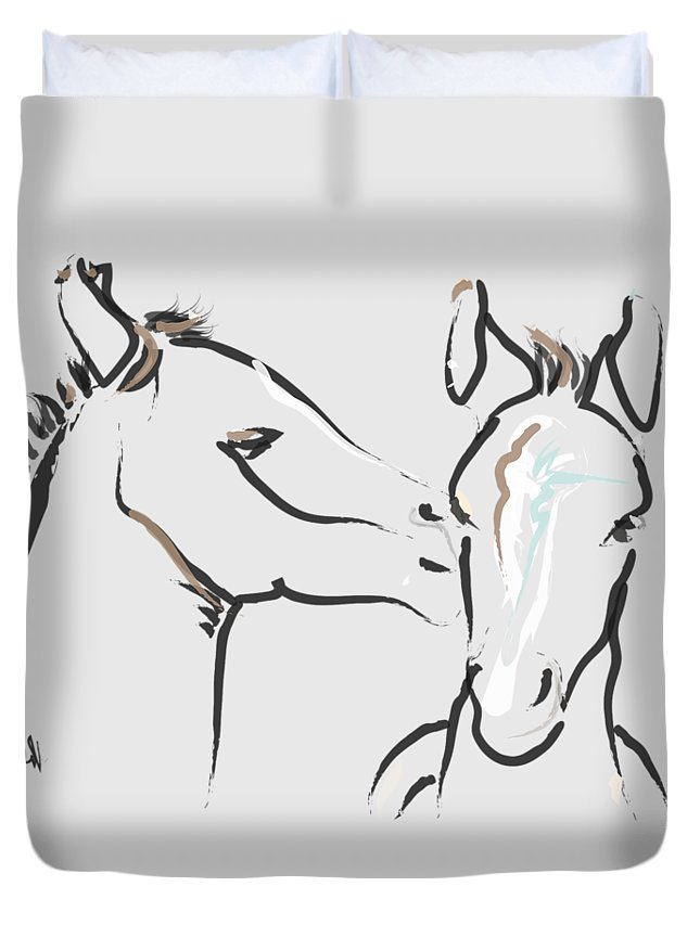 Foal Duvet Cover featuring the painting Horse-foals-together 6 by Go Van Kampen