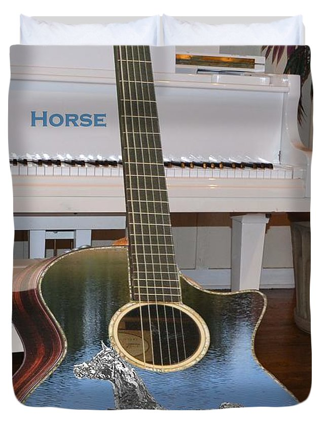 Music Duvet Cover featuring the digital art Horse Guitar by Cleotha Williams