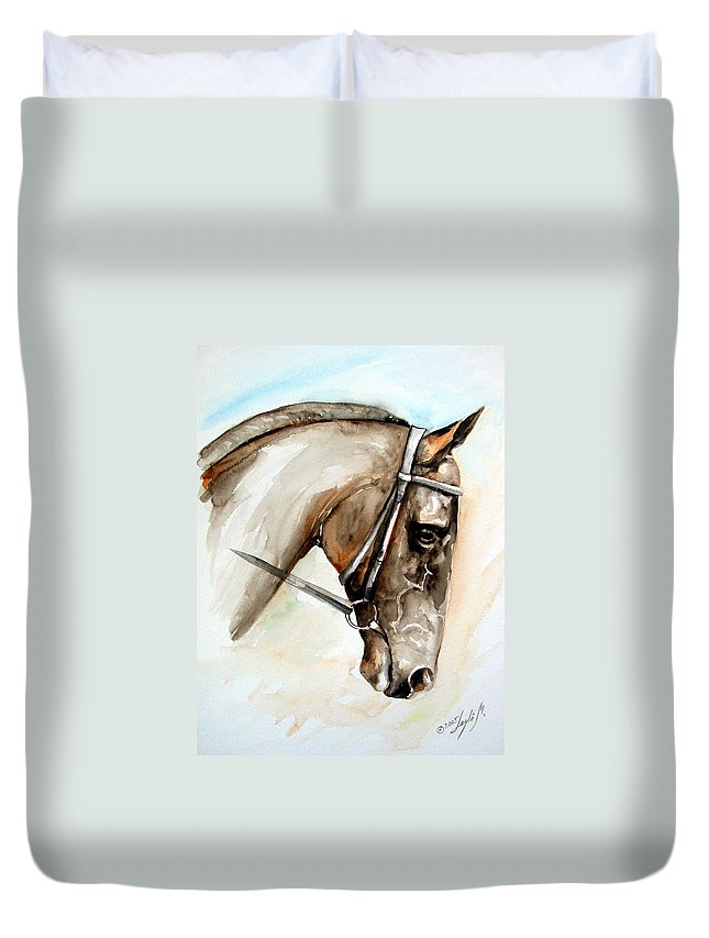 Horse Duvet Cover featuring the painting Horse Head by Leyla Munteanu