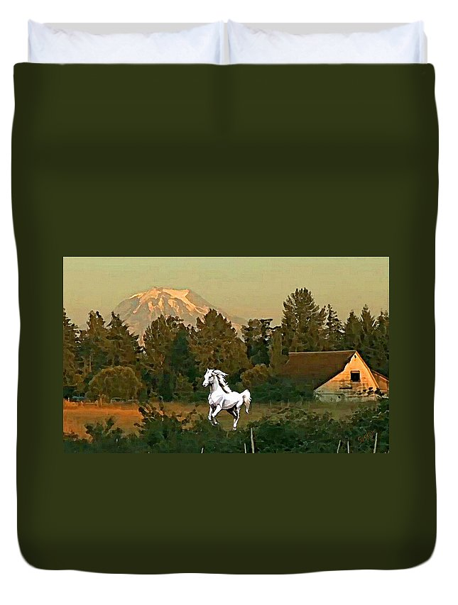 Horse Duvet Cover featuring the painting Horse Mountain And Barn by Susanna Katherine