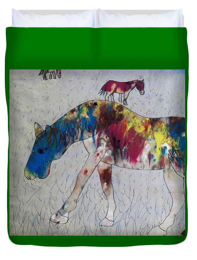 Tie-dye Duvet Cover featuring the painting Horse Of A Different Color by Thomasina Durkay