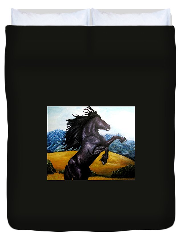 Horse Duvet Cover featuring the painting Horse Oil Painting by Natalja Picugina