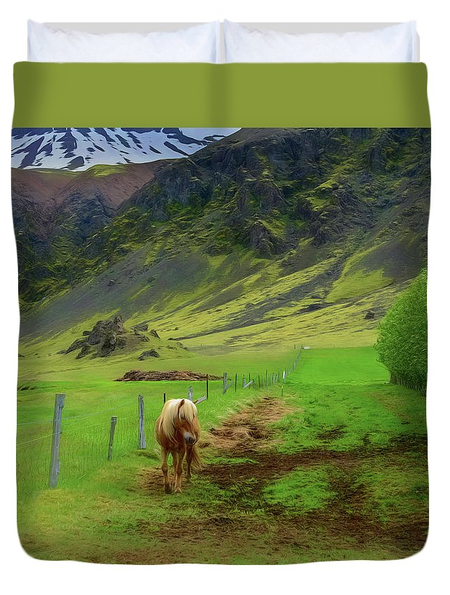 Horse Duvet Cover featuring the photograph Horse On The South Iceland Coast by Jeffrey Hamilton