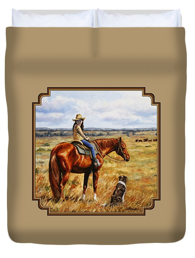 Western Duvet Cover featuring the painting Horse Painting - Waiting For Dad by Crista Forest