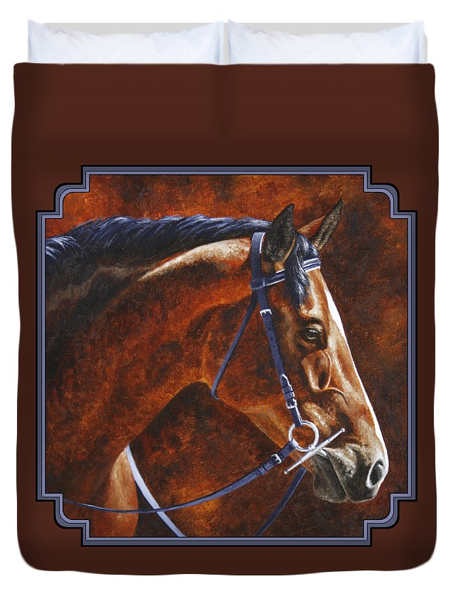 Horse Duvet Cover featuring the painting Horse Painting - Ziggy by Crista Forest